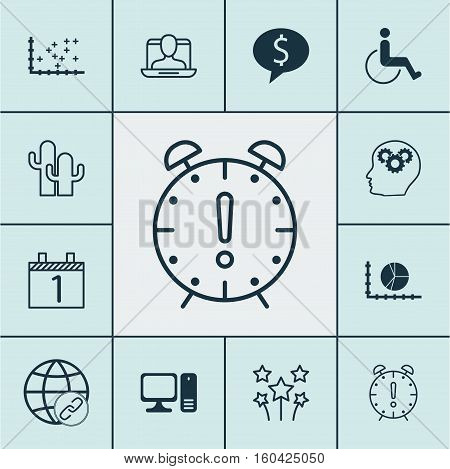 Set Of 12 Universal Editable Icons. Can Be Used For Web, Mobile And App Design. Includes Elements Such As Desktop Computer, Business Deal, Accessibility And More.