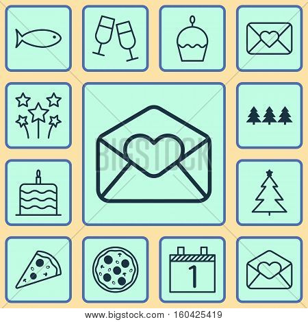Set Of 12 New Year Icons. Can Be Used For Web, Mobile, UI And Infographic Design. Includes Elements Such As Birthday, Agenda, Month And More.