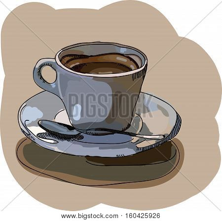 Digital vector painted cup of coffee with foam and spoon on a table, flat style