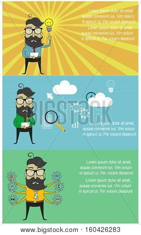 Three cartoon banners with hipster guy as programmer. Concept web design, programming of and coding, Vector