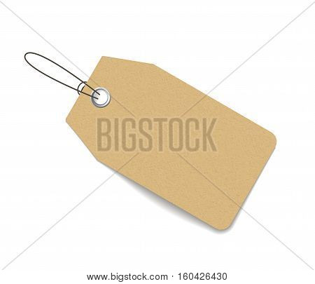 Blank price tag isolated on white with soft shadow. Realistic vector mock up for portfolio presentation