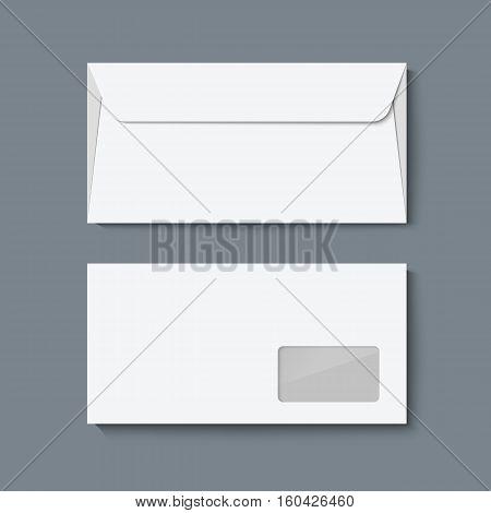 Envelope mock up. Realistic vector illustration template for designer portfolio presentetion. White paper envelopes isolated on dark gray background