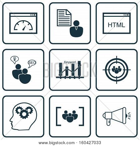 Set Of 9 SEO Icons. Can Be Used For Web, Mobile, UI And Infographic Design. Includes Elements Such As Ranking, Consulting, Plan And More.