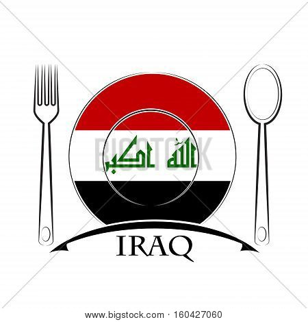 Food logo made from the flag of Iraq.