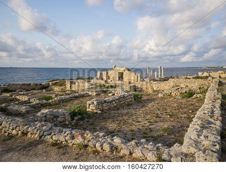 Sevastopol. Crimea, Russia - September 2016: Ancient Greek basilica and marble columns in Chersonesus Taurica.