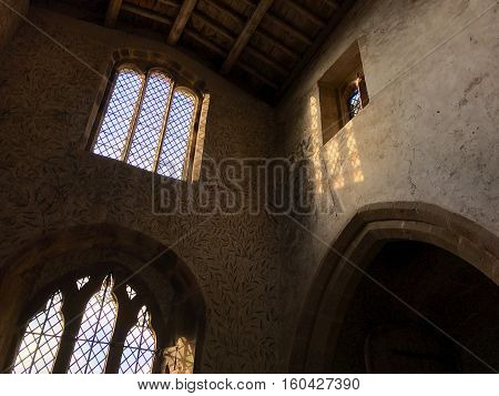 BAKEWELL ENGLAND - DECEMBER 4: Interior decoration of the chapel at Haddon Hall in Derbyshire England. In Bakewell Derbyshire England. On 4th December 2016.