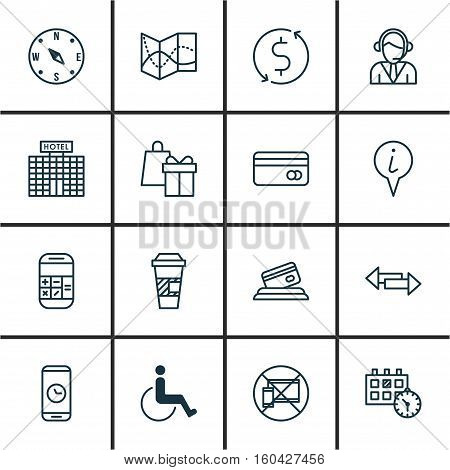 Set Of 16 Travel Icons. Can Be Used For Web, Mobile, UI And Infographic Design. Includes Elements Such As Appointment, Takeaway, Date And More.