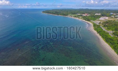 Aerial view of the Labuan island with beautiful landscaped park long sandy beach.Labuan is an interesting tourist destination with plenty to keep the island traveller relaxed in equal measure.