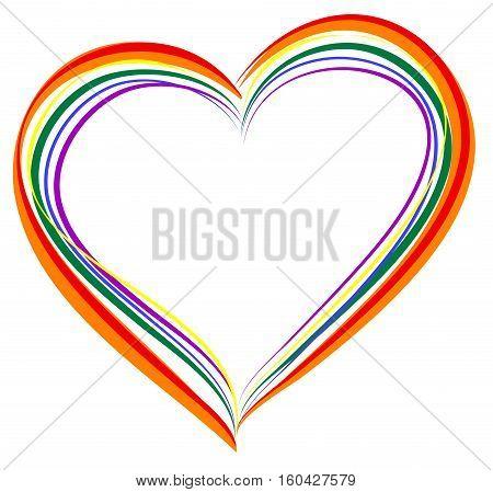 LGBT rainbow heart symbol of love. Isolated on white vector illustration icon