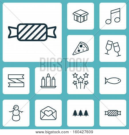 Set Of 12 Celebration Icons. Can Be Used For Web, Mobile, UI And Infographic Design. Includes Elements Such As Aquatic, Candle, Greeting And More.