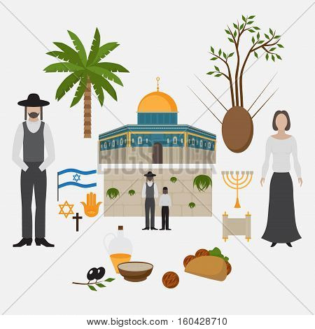 Symbol and design elements Jerusalem Israel. Travel landmarks. Al-Aqsa Mosque Dome of the rock. Religios architecture