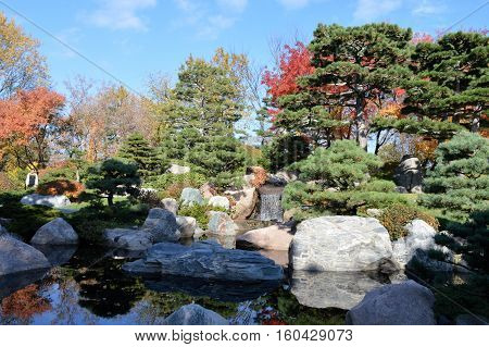 A Japanese garden during the early fall