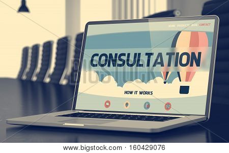 Modern Conference Room with Laptop on Foreground Showing Landing Page with Text Consultation. Closeup View. Blurred. Toned Image. 3D.
