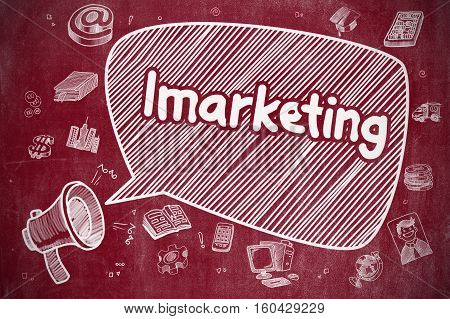 Shouting Mouthpiece with Phrase Imarketing on Speech Bubble. Hand Drawn Illustration. Business Concept. Business Concept.