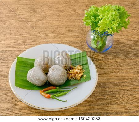 Thai Traditional Dessert Thai Tapioca Balls Made From Glutinous Rice Filled with Minced Pork and Sweet Pickled Daikon Radish.