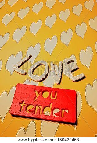 Dimensional inscription LOVE you tender on background. 3D rendering.