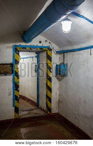 Balaklava, Crimea - September 2016: Door in secret underground submarine base in Sevastopol a secret military installation during the Cold War. Russia