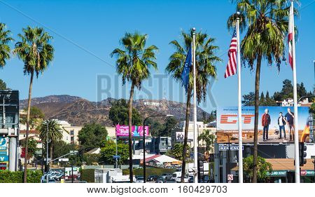LOS ANGELES CALIFORNIA - NOVEMBER 02 2016: Hollywood sign seen from Hollywood boulevard