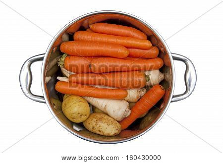 Fresh vegetables in the pot isolated on the white background