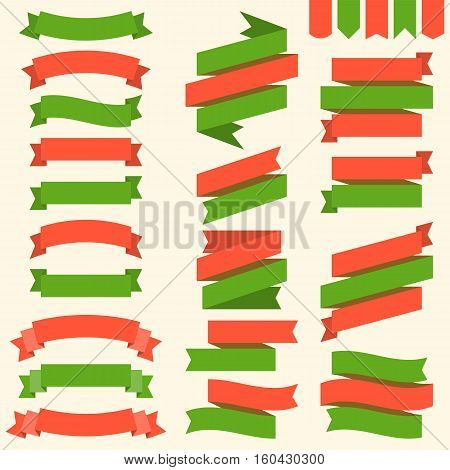 Ribbons and flags in Christmas theme, green and red, for headline, banner, tag, flat design