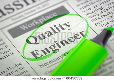 Quality Engineer - Jobs in Newspaper, Circled with a Green Highlighter. Blurred Image. Selective focus. Job Search Concept. 3D Render.