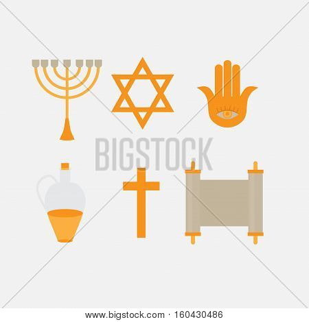 Flat icon symbols of Judaism minora david star anchovy and scroll. Ortodox jew traditonal religious logo