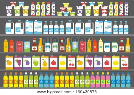 Supermarket. Shelfs Shelves with Products and Drinks
