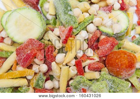 Close up of many mixed frozen vegetables
