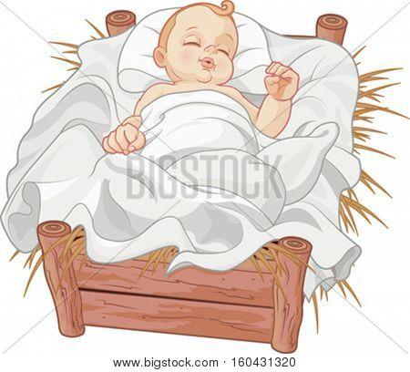 Baby Jesus asleep in a Christmas nativity crib