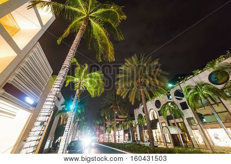 famous Rodeo drive in California by night