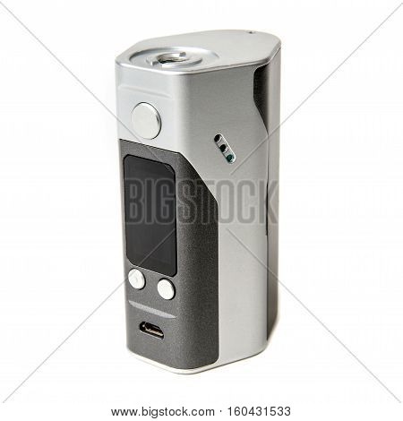 Vape. E-cigarette vaping box mod isolated. RDA. Rebuildable Dripping Vaping Atomizer. Vapor