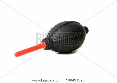 Silicone blower or Rubber Air Blower Pump Dust Cleaner for camera and lenses isolated on white background.