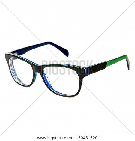 black glasses with colored inserts on white background.