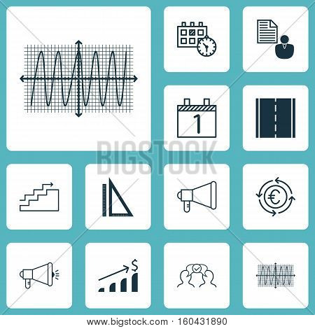 Set Of 12 Universal Editable Icons. Can Be Used For Web, Mobile And App Design. Includes Elements Such As Growth, Measurement, Media Campaign And More.