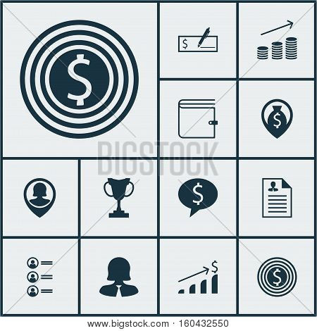 Set Of 12 Management Icons. Can Be Used For Web, Mobile, UI And Infographic Design. Includes Elements Such As List, Purse, Job And More.