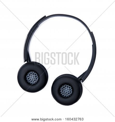 Black headphones isolated on the white background