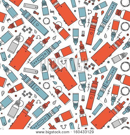 Vector seamless pattern for vape shop and vape service e-cigarette store. Wrapping paper pattern