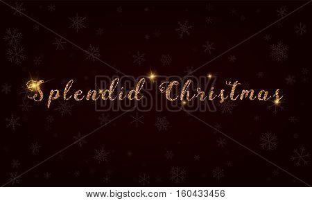 Splendid Christmas. Golden Glitter Hand Lettering Greeting Card. Luxurious Design Element, Vector Il