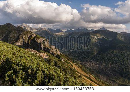 Great mountain peaks in autumn landscape. Tatry