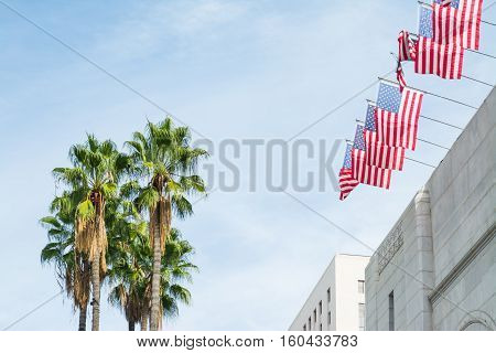 palm trees and USA flags in Los Angeles California