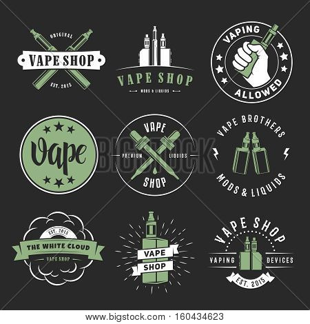 Vape labels. Vector e-cigarette logos for vape shop, lounge or bar. Smoking devices, liquids, mods and accessories