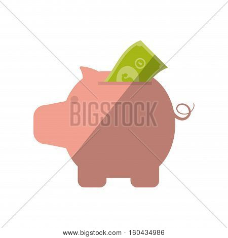 piggy money bill dollar color shadow vector illustration eps 10