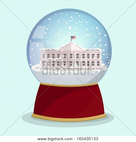 Vector Christmas Glass globe with the falling snow and White House in it.Washington DC.Vector illustration