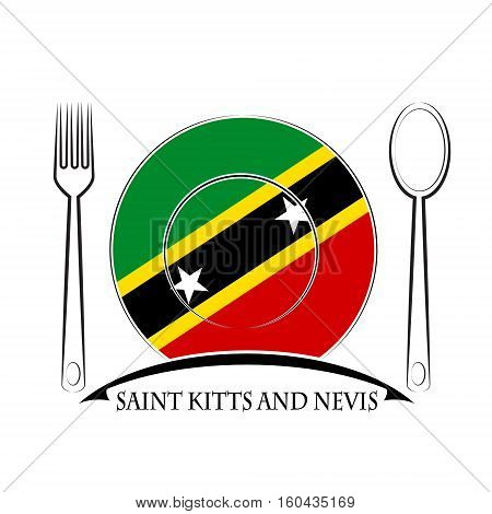 Food logo made from the flag of Saint Kitts and Nevis