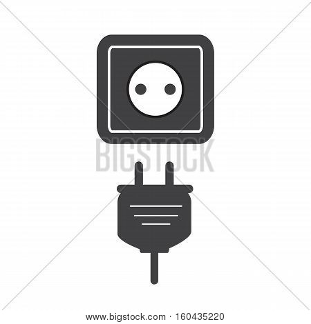 plug socket icon Flat. plug socket sign.