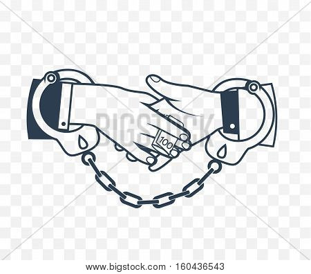 Icon bribery as the concept of the fight against corruption. Two hands bound by handcuffs bribe each other