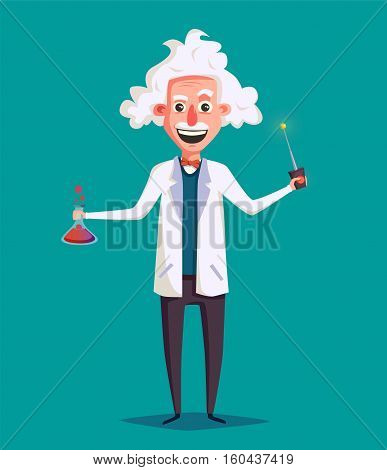 Crazy old scientist. Funny character. Cartoon vector illustration. Mad professor. Science experiment. Remote controller