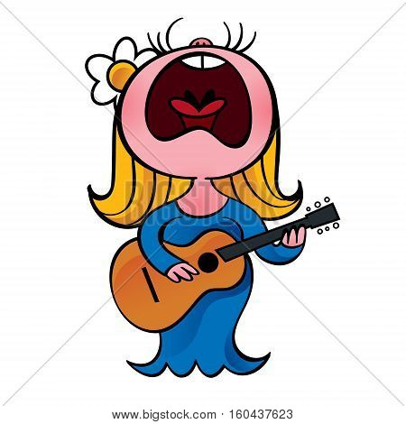 Woman in blue dress sings and play guitar
