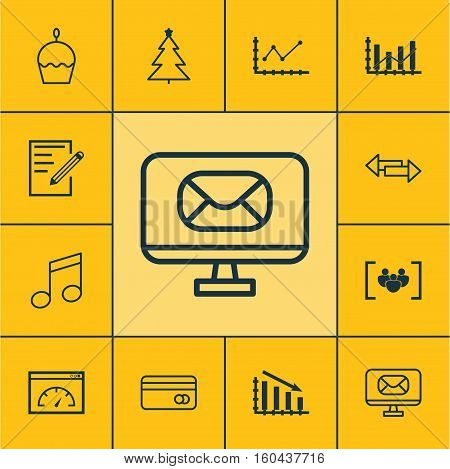 Set Of 12 Universal Editable Icons. Can Be Used For Web, Mobile And App Design. Includes Elements Such As Crotchets, Fail Graph, Email And More.
