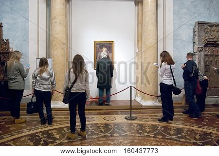 St Petersburg, Russia, Dec 1, 2016: People look at the installation